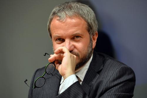 Basta Euro Tour. Il Prof. Claudio Borghi Aquilini al Centro Congressi Atc di Torino. Ph.Massimo Pinca/Newpress