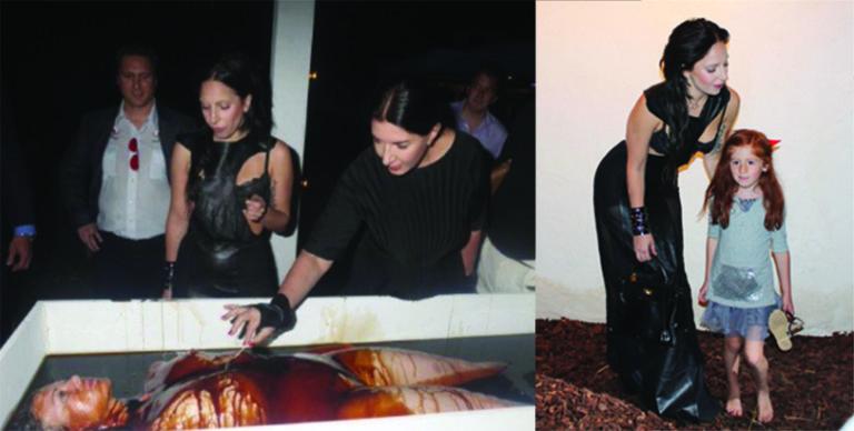 """Lady Gaga e Marina Abramovic all'evento """"Il cielo del Diavolo"""", dove gli ospiti partecipavano a un finto cannibalismo. Perché un bambino dovrebbe partecipare a questo evento raccapricciante?"""