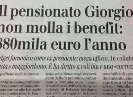 Giorgio Napolitano non molla i suoi privilegi: 880.000 Euro l'anno solo di pensione